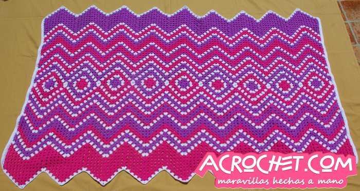 Manta Zig Zag Granny Invertido | Blog a Crochet - ACrochet