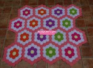 Manta florecillas hexagonales