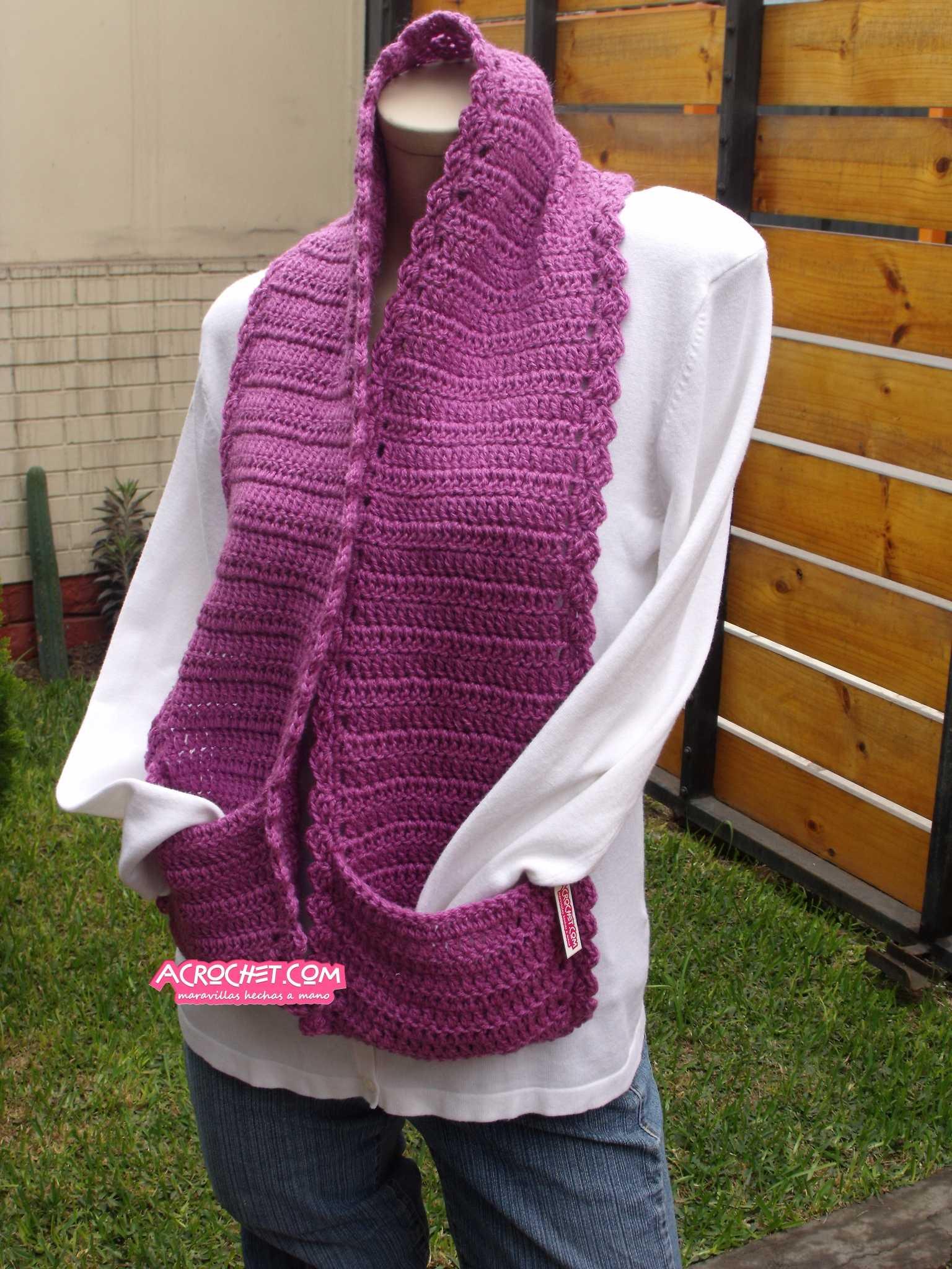 Chalina con bolsillos para combatir el frio | Blog a Crochet - ACrochet