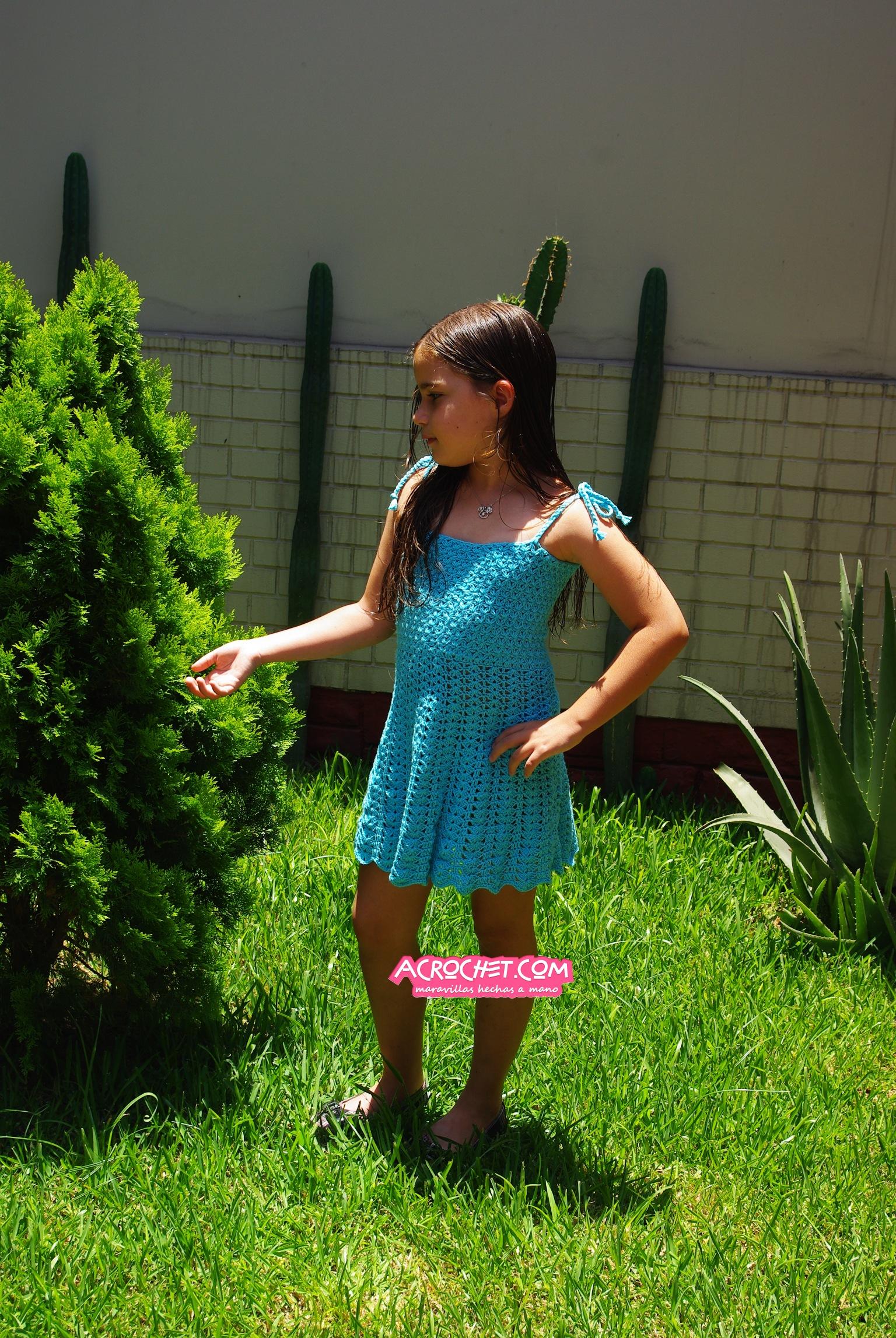a7c943e7f Vestido de Niña en Punto Jazmín | Blog a Crochet - ACrochet