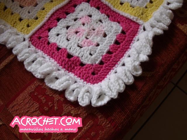 Trabajando una cenefa de cartuchos en una manta a crochet | Blog a ...